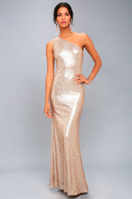 Sexy Rose Gold Maxi Dress - One-Shoulder Sequin Dress