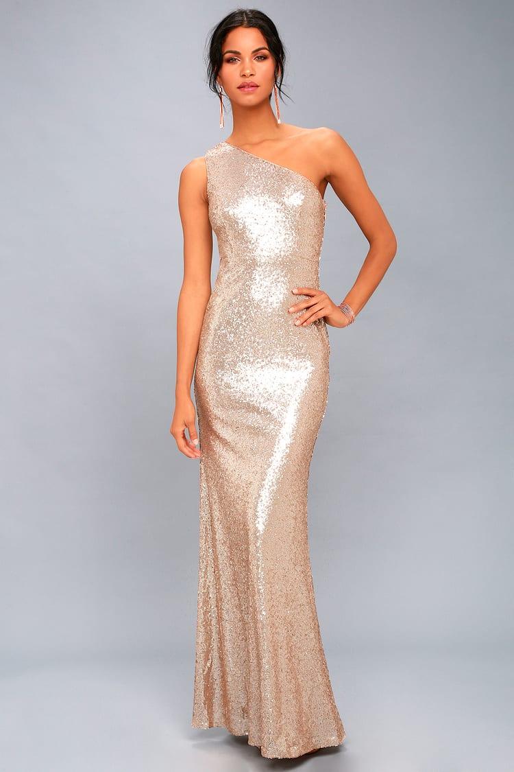 Timeless Story Matte Rose Gold Sequin One Shoulder Maxi Dress