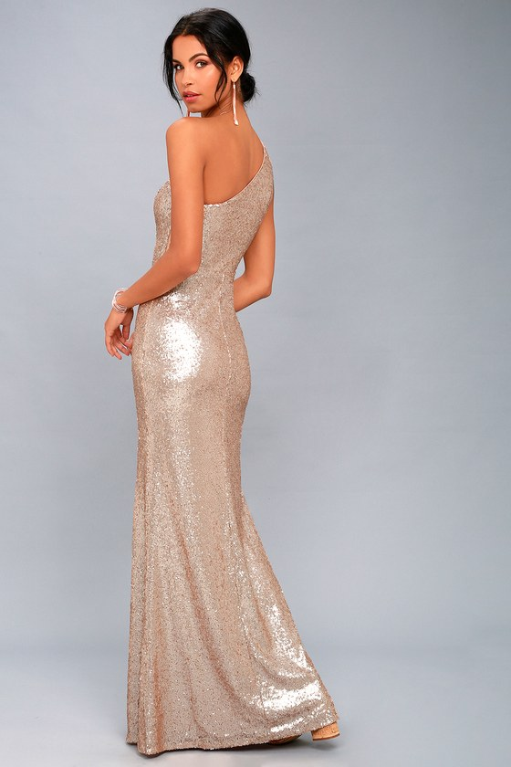 74b374e0a2 Timeless Story Matte Rose Gold Sequin One-Shoulder Maxi Dress
