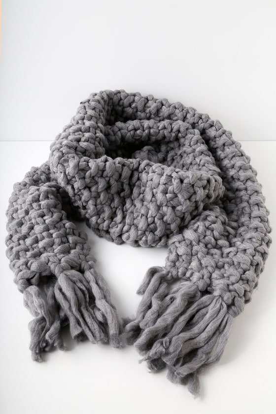 All for Love Charcoal Grey Chunky Knit Scarf