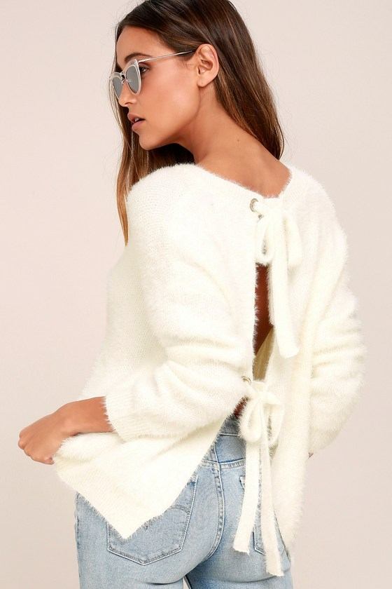 Weekend In Aspen Ivory Backless Sweater Top - Lulus