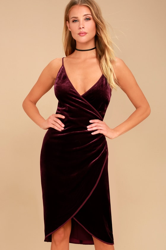 Connery Plum Purple Velvet Wrap Dress