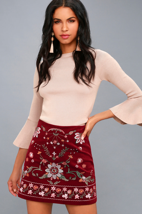 Mountain High Burgundy Embroidered Corduroy Mini Skirt