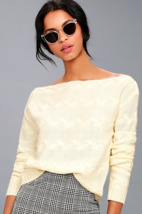 Cute Cream Sweater - Knit Off-the-Shoulder Sweater
