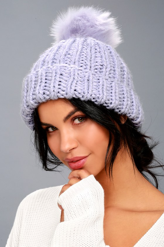 Free People Happy Trails Lavender Pom Pom Beanie