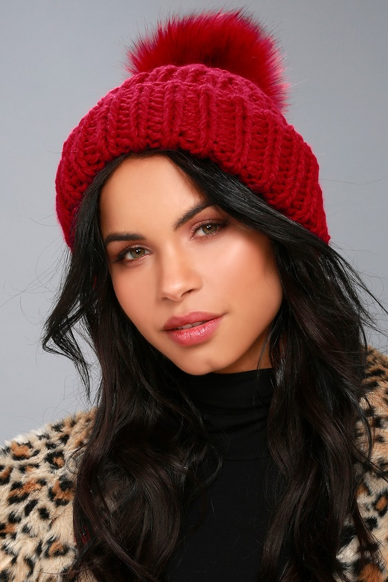 4f4424808f9cf Free People Happy Trails Beanie - Red Pom Pom Beanie