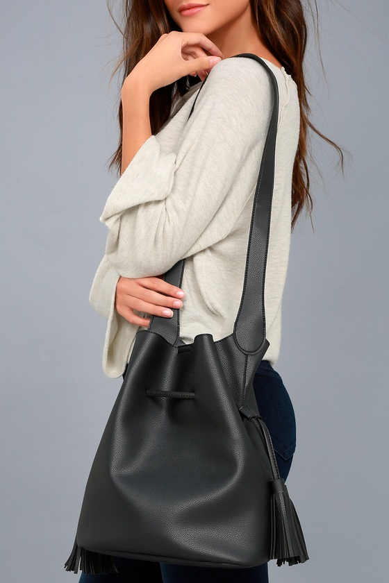 Lulus - Style Symmetry Black Drawstring Bucket Bag - Vegan Friendly