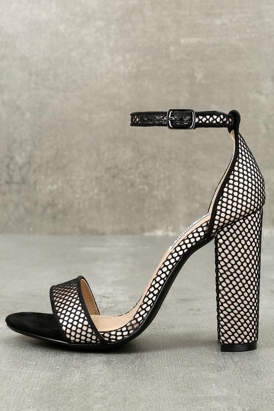 Carrson Black Mesh Ankle Strap Heels 1
