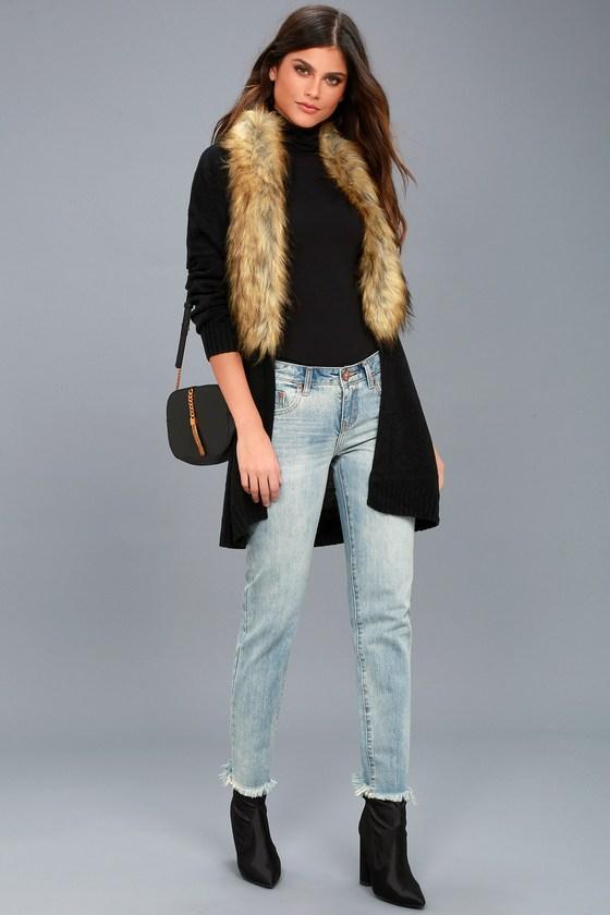383429b6f Chic Faux Fur Sweater - Black Cardigan - Faux Fur Cardigan