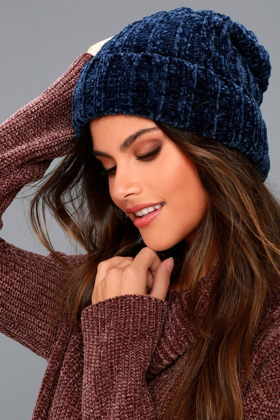 Free People Huggy Bear Navy Blue Chenille Beanie