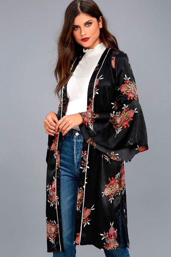 f82e54514f276 Luxe Satin Kimono - Floral Print Kimono - Bell Sleeve Kimono