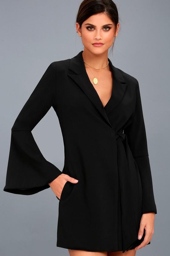 Executive Move Black Long Sleeve Blazer Dress 1