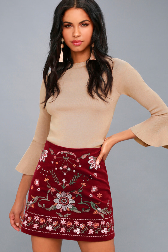 9816d9fa58a7e Boho Burgundy Skirt - Embroidered Skirt - Mini Skirt