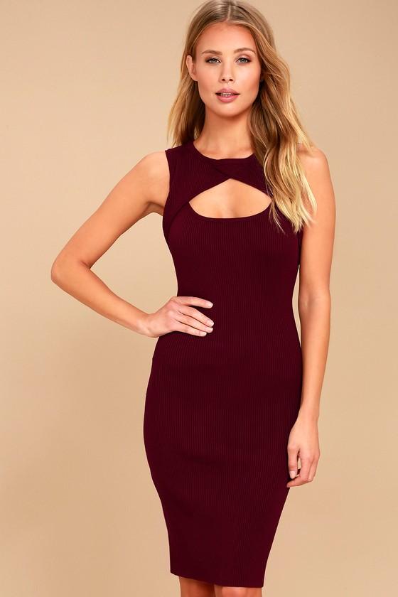 Cute Burgundy Dress - Bodycon Dress - Sleeveless Dress 1c166f674
