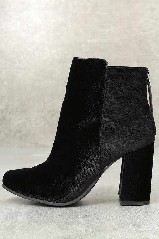 Nadonna Black Velvet Ankle Booties 1