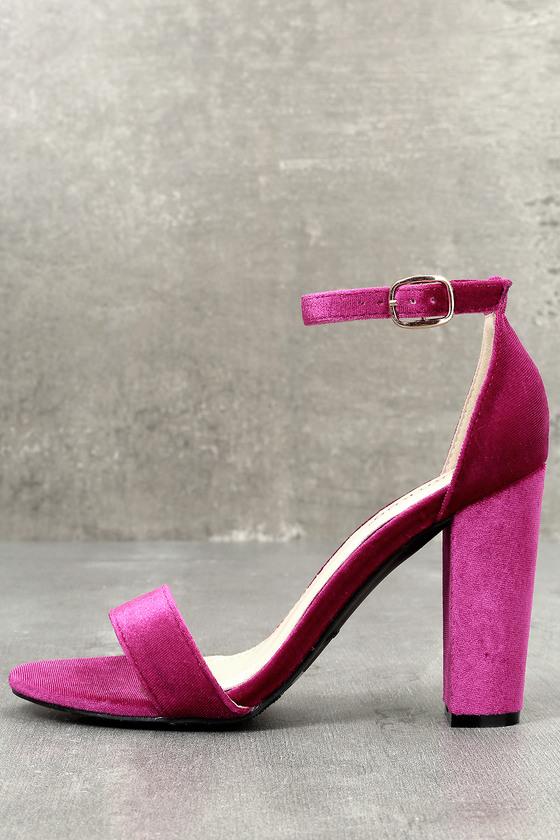 065b1d5e4a Cute Velvet Heels - Ankle Strap Heels - Dress Sandals