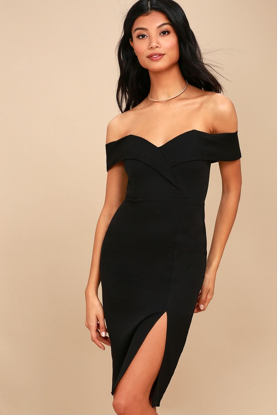 ed0fe45d8c4a Cute Black Dress - Bodycon Dress - Off-the-Shoulder Dress