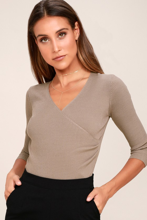 899a696b6d471 Chic Taupe Ribbed Knit Top - Long Sleeve Top - Wrap Top