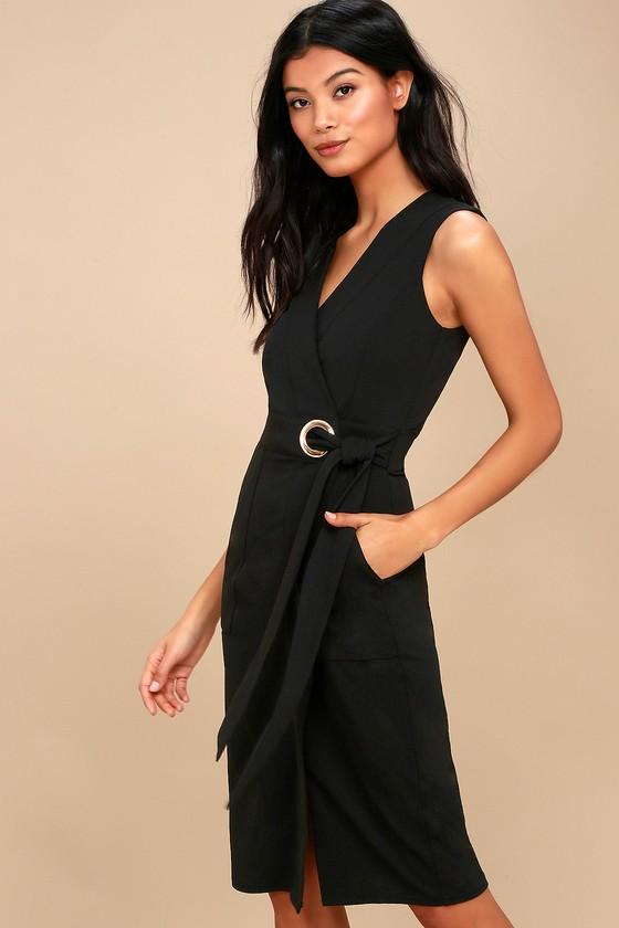 Office Aesthetic Black Midi Wrap Dress 3