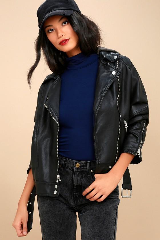 Drapey Black Vegan Leather Moto Jacket 1