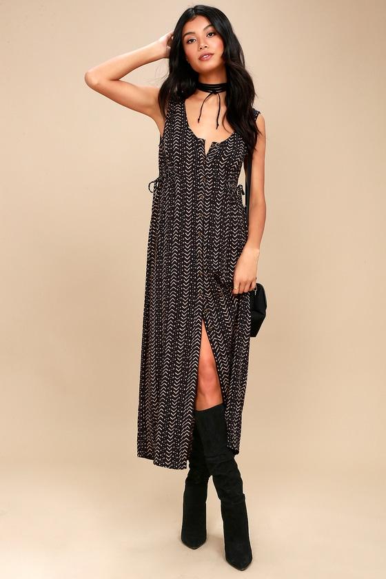 Desert Dreamers Black Print Midi Dress 2