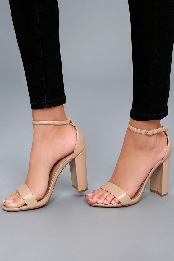f156f052461 Carrson Blush Nude Leather Ankle Strap Heels