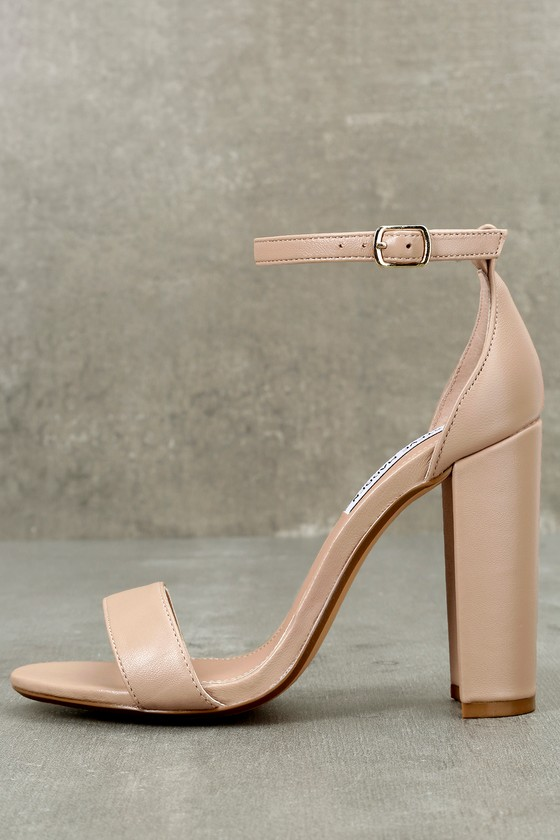 Carrson Blush Nude Leather Ankle Strap Heels 3