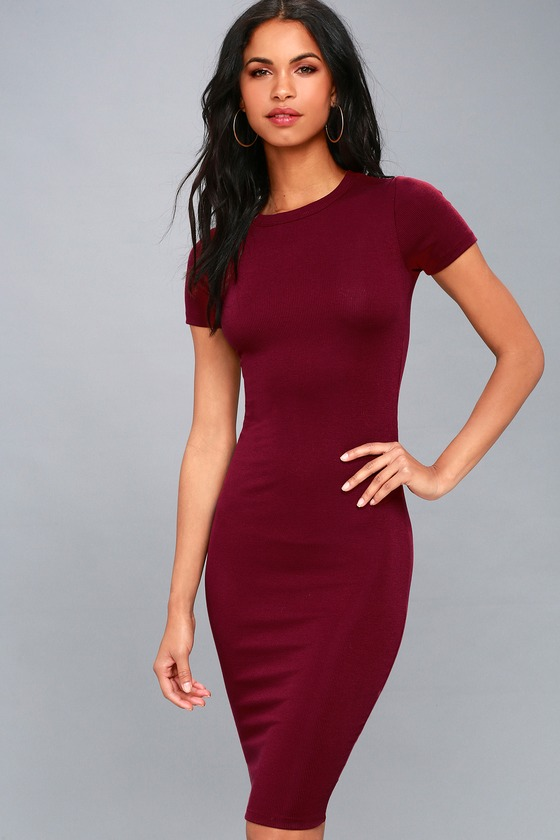 c76d1abd49eaa Cute Burgundy Dress - Bodycon Dress - Midi Dress