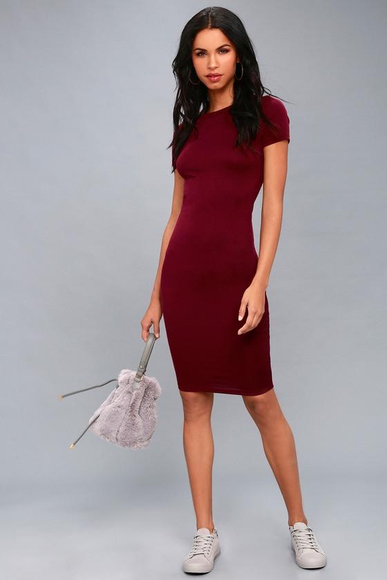 33606e1b Cute Burgundy Dress - Bodycon Dress - Midi Dress