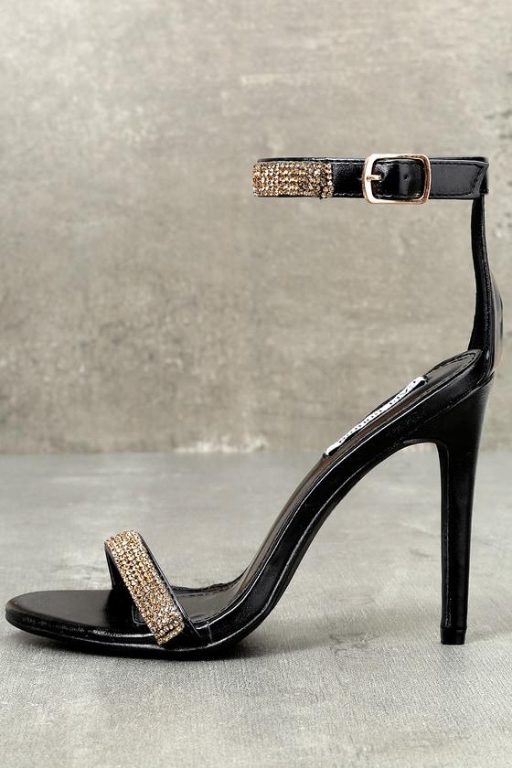 6c28b8fc2ea13 Chic Black Heels - Gold Rhinestone Heels - Vegan Heels