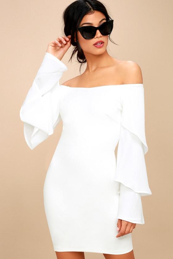 Mon Cherie White Off-the-Shoulder Bodycon Dress 2