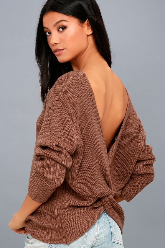 Wrapped in Warmth Rusty Brown Knot Back Sweater 5