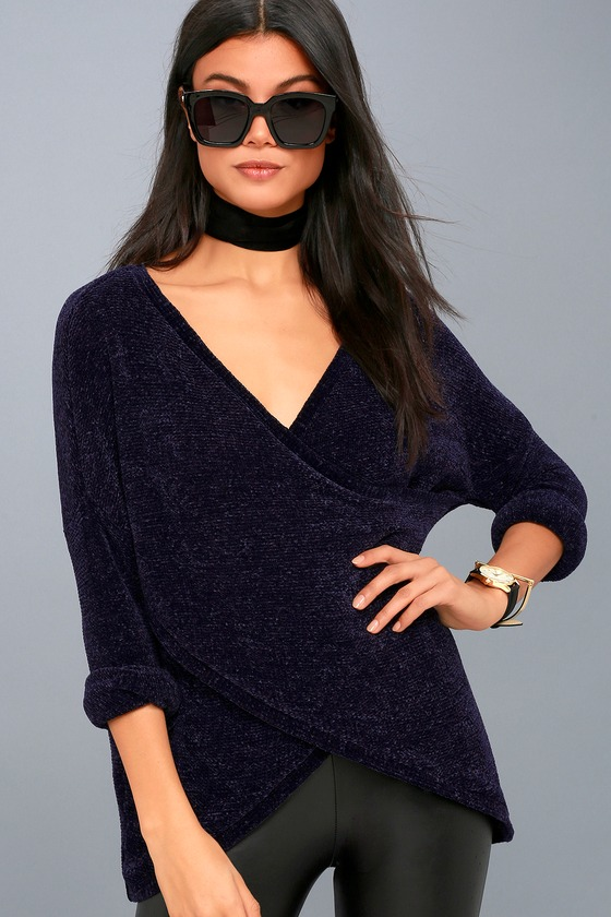 Macalister Navy Blue Chenille Wrap Sweater 3