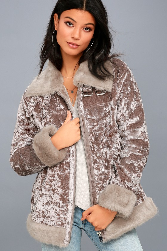Backstage Babe Mauve Crushed Velvet Faux Fur Jacket