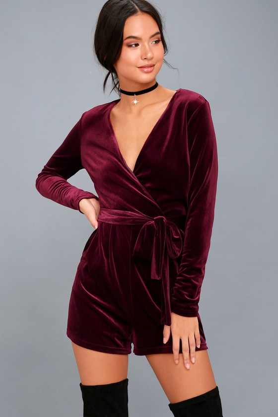 70s Jumpsuit | Disco Jumpsuits – Sequin, Striped, Gold, White, Black Romantic Moves Burgundy Velvet Long Sleeve Romper - Lulus $60.00 AT vintagedancer.com