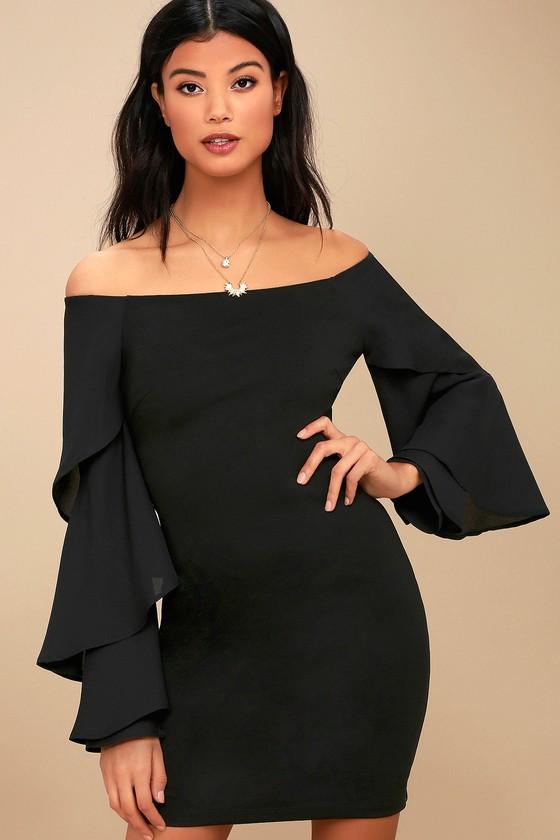 Mon Cherie Black Off-the-Shoulder Bodycon Dress 3