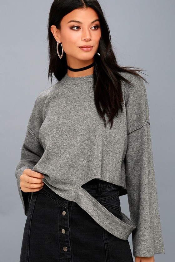 Choreography Heather Grey Cutout Cropped Sweater 1