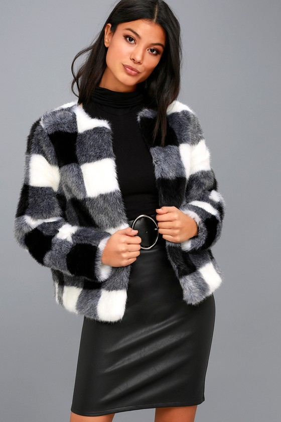 Luxe Faux Fur Jacket Black And White Checkered Jacket