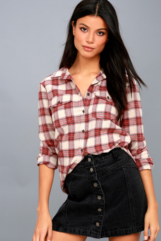 Venture Out Rust Red Plaid Flannel Button-Up Top 1