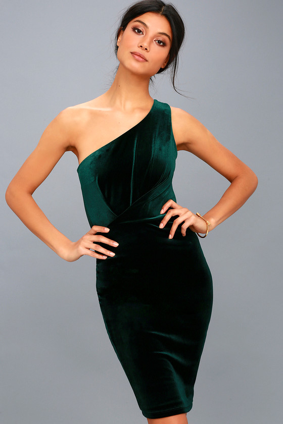 38746965cac Sexy Forest Green Dress - Bodycon Dress - One-Shoulder Dress