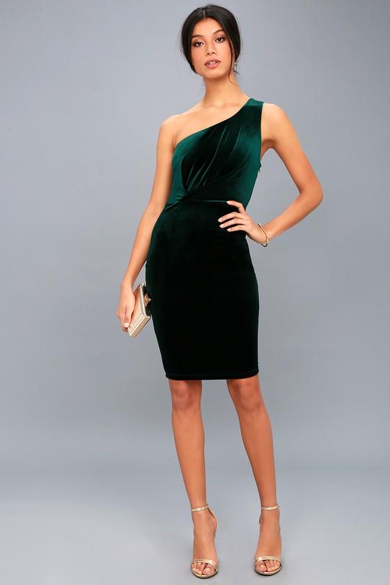 Candlelit Date Forest Green Velvet One-Shoulder Bodycon Dress f5bde1579