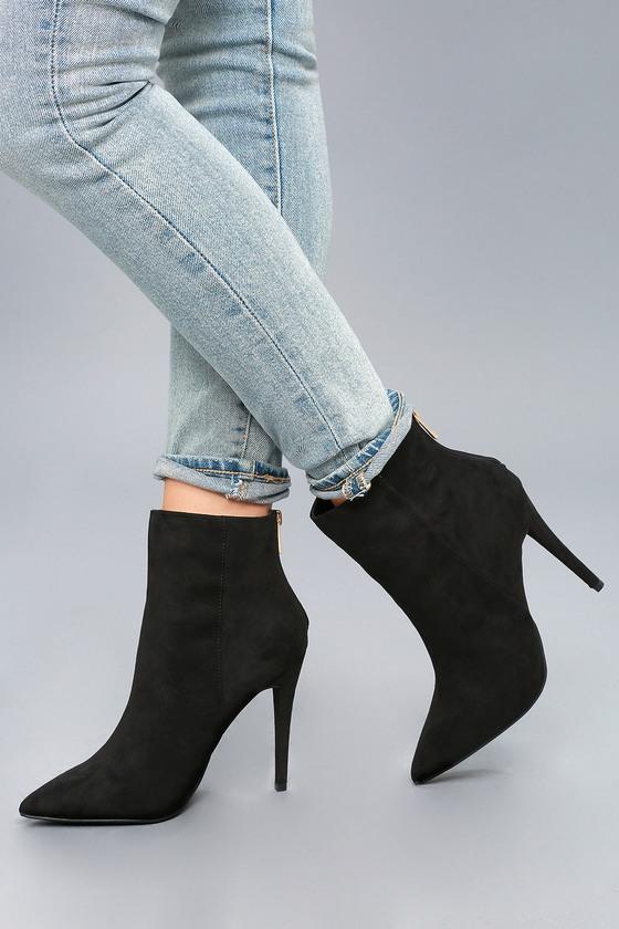 b8611f90b2a Chic Stiletto Heel Booties - Black Vegan Suede Booties