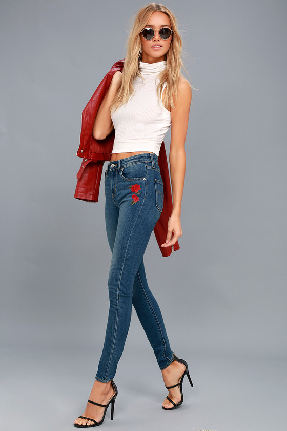 721 High Rise Skinny Medium Wash Embroidered Jeans 1