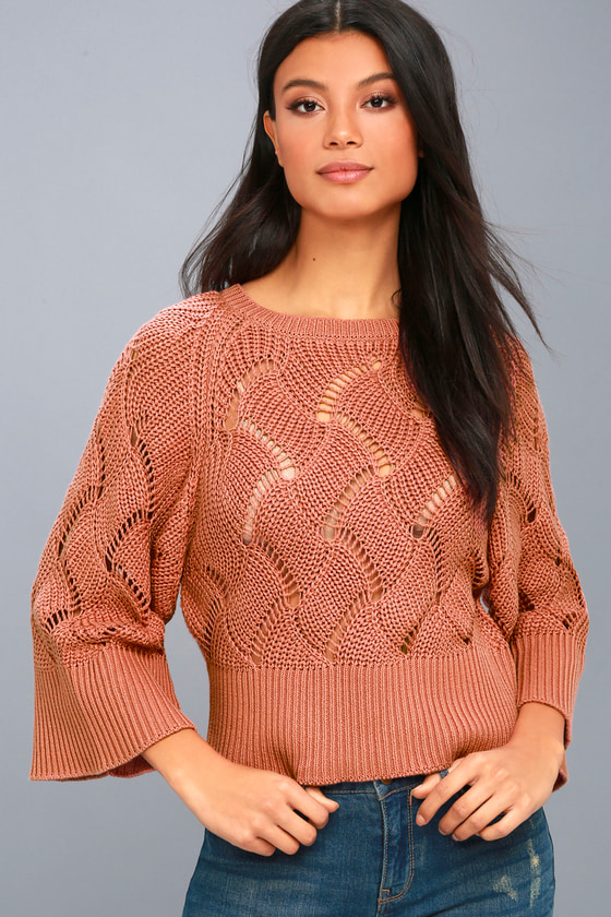Brunch It Up Rusty Rose Cropped Sweater Top 1