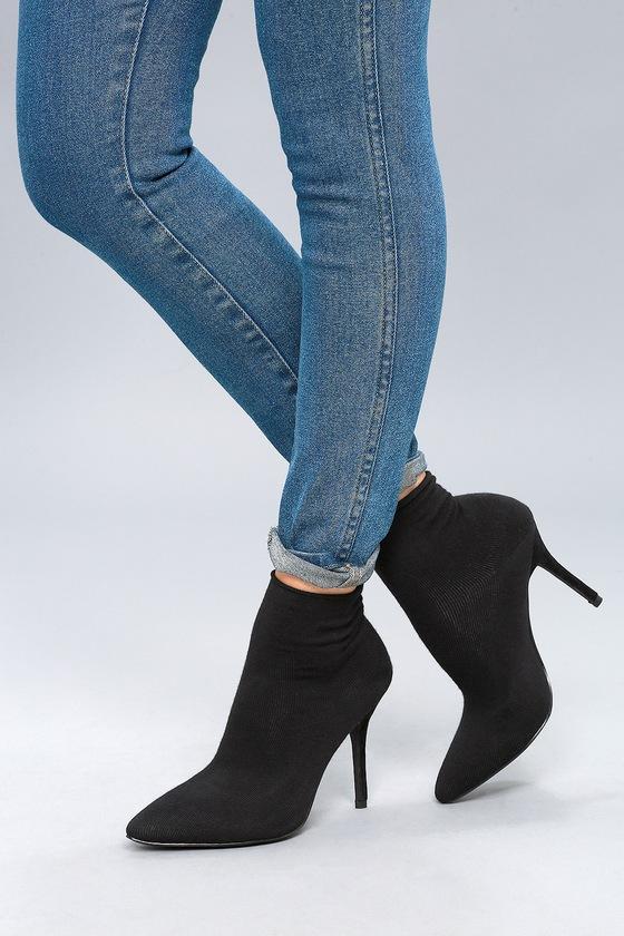Trendy Sock Booties Mid Calf Booties Black Booties