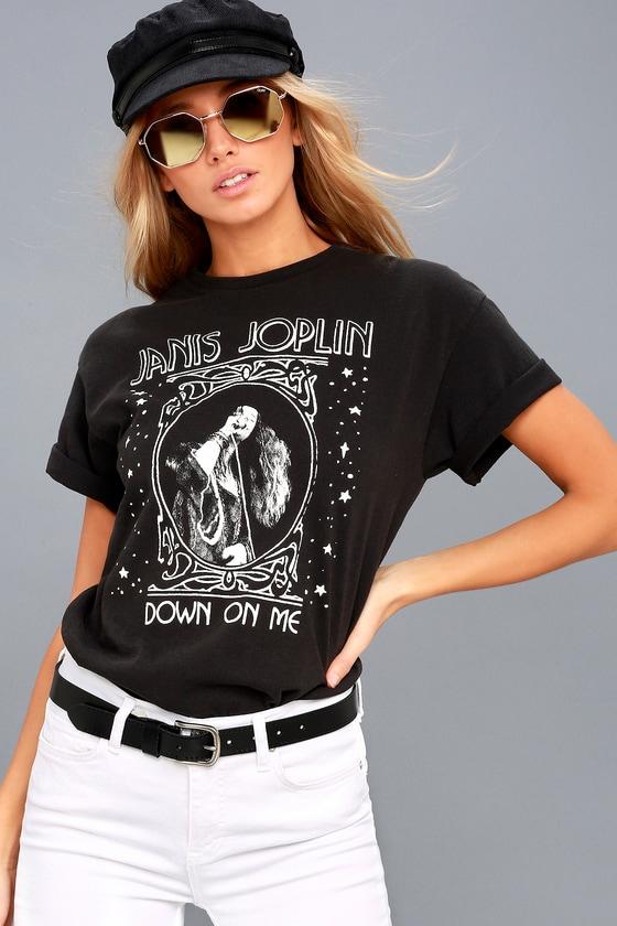 Janis Joplin Down On Me Washed Black Tee 1