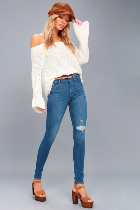 Mile High Super Skinny Medium Wash Distressed Jeans 1