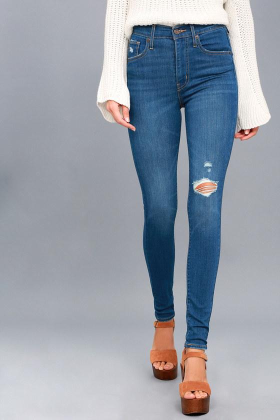 dab1f960c79a2e Mile High Super Skinny Medium Wash Distressed Jeans