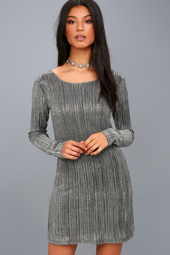 Shine Bright Black and Silver Long Sleeve Bodycon Dress 4