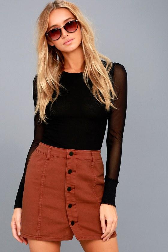 Nights Like This Terra Cotta Denim Mini Skirt 1